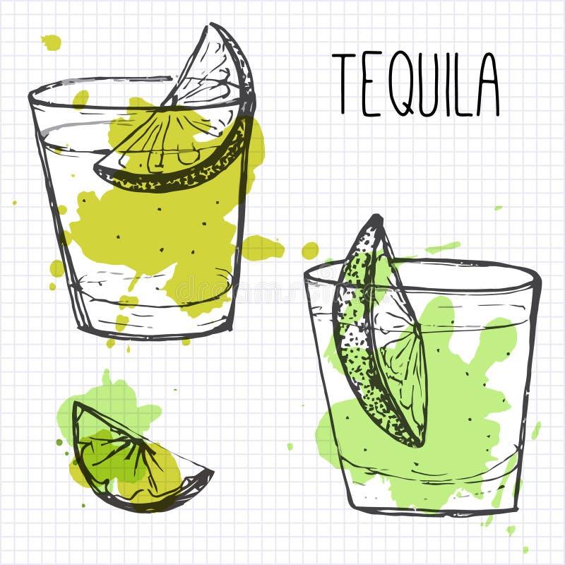 Uppsättning av två coctailskott med limefruktsegment. Skissa och vattenfärgilustrationen vektor illustrationer