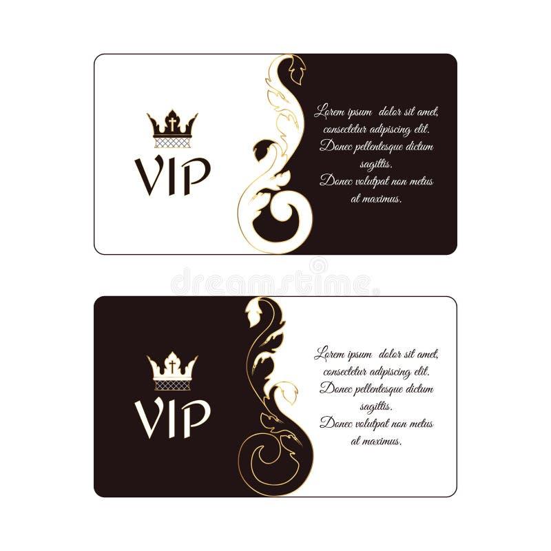 Uppsättning av två eleganta horisontalrabattkort i viktoriansk stil, vit och brunt Passande också för affär, brännmärkt stock illustrationer
