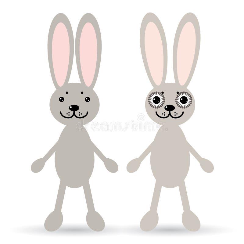 Uppsättning av två gulliga kaniner på en vit bakgrund Rolig kanin vektor illustrationer