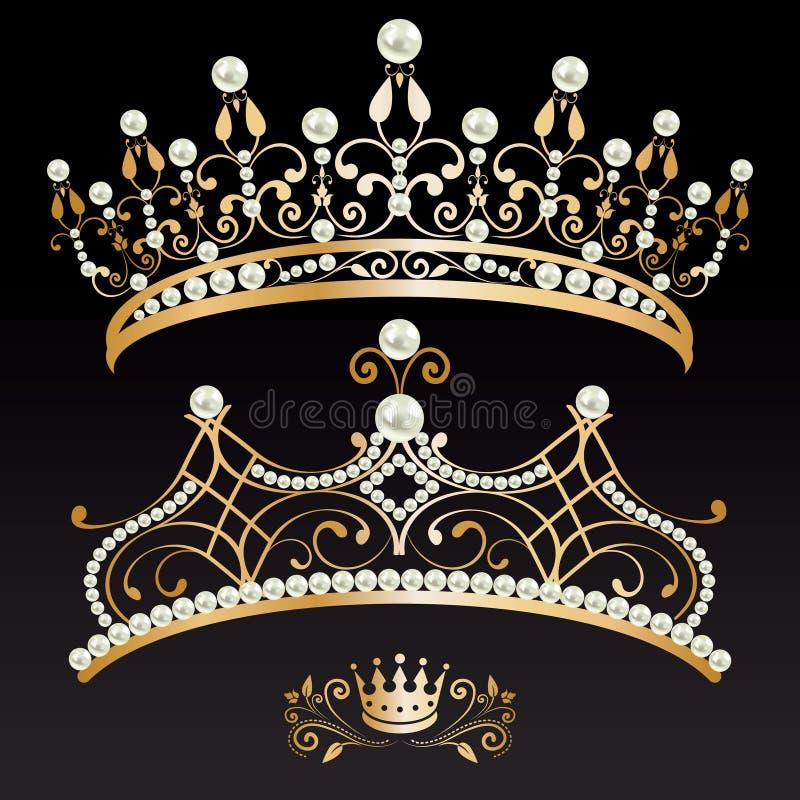 Uppsättning av två lyxiga guld- tiaror och krona med pärlor royaltyfri illustrationer