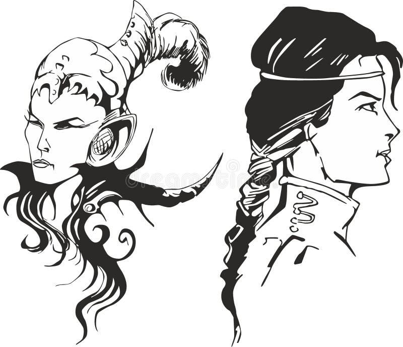 Uppsättning av två mirakel- amazon kvinnor royaltyfri illustrationer
