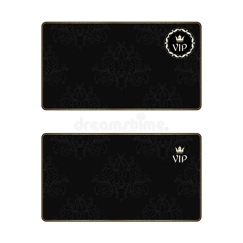 Uppsättning av två svarta eleganta affärskort med en lövrik textur i en viktoriansk stil och storgubbesymboler royaltyfri illustrationer