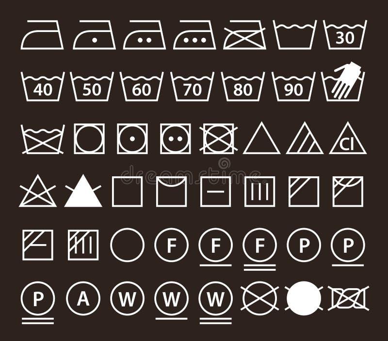 Uppsättning av tvagningsymboler & x28; Tvätteriicons& x29; royaltyfri illustrationer