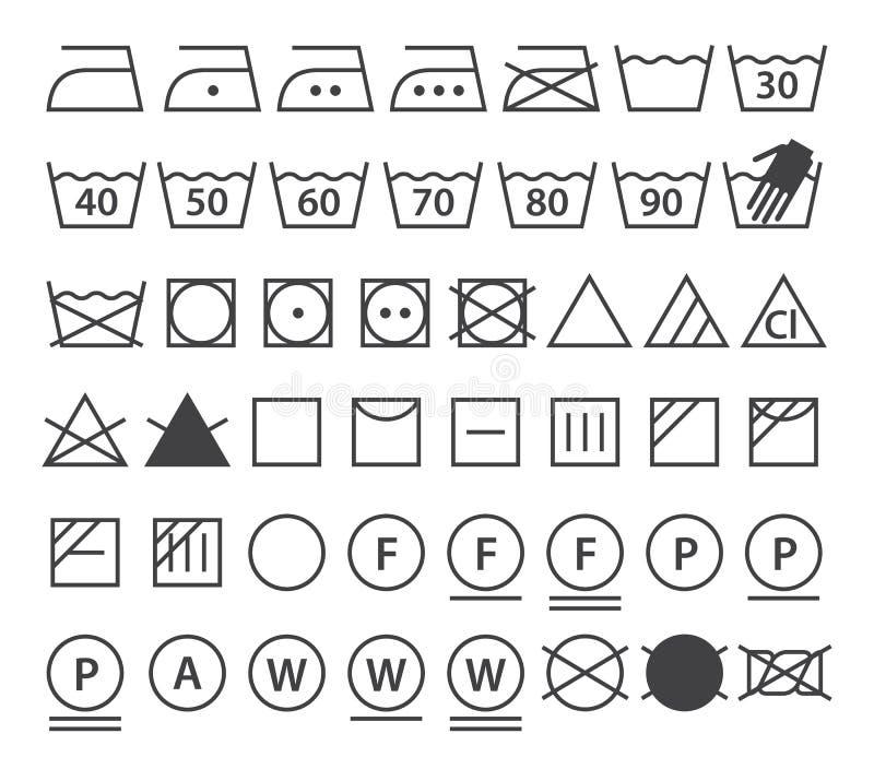 Uppsättning av tvagningsymboler (tvätterisymboler) royaltyfri illustrationer