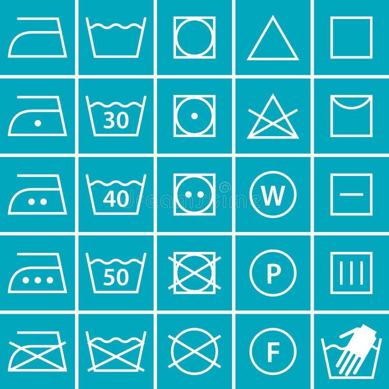 Uppsättning av tvagningsymboler (tvätterisymboler) vektor illustrationer