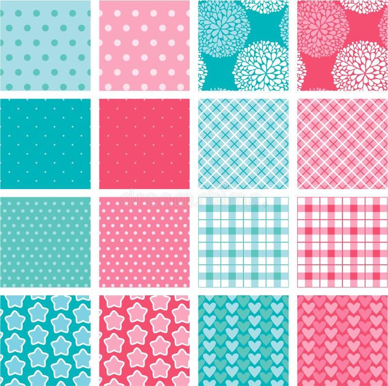 Uppsättning av tygtexturer i rosa färg- och blåttfärger stock illustrationer