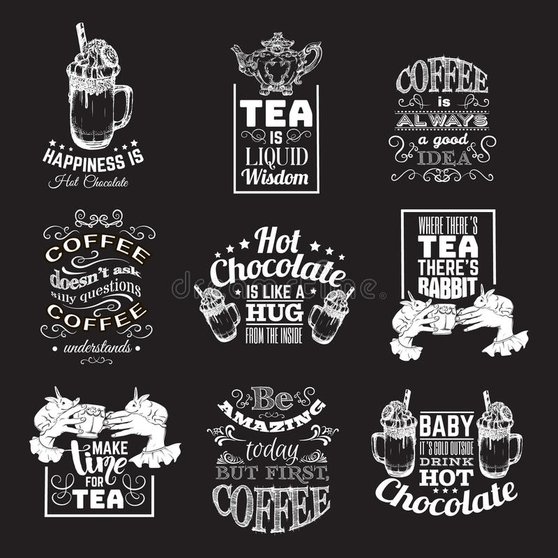 Uppsättning av typografisk bakgrund för citationstecken om te och kaffe för varm choklad vektor illustrationer