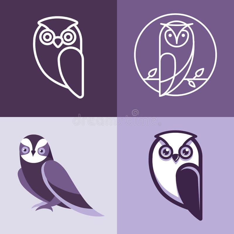 Uppsättning av ugglalogoer och emblem vektor illustrationer