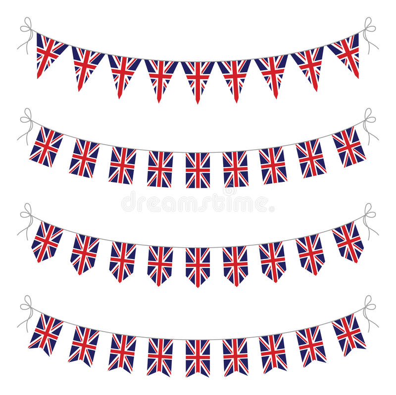Uppsättning av UK-bunting royaltyfri illustrationer