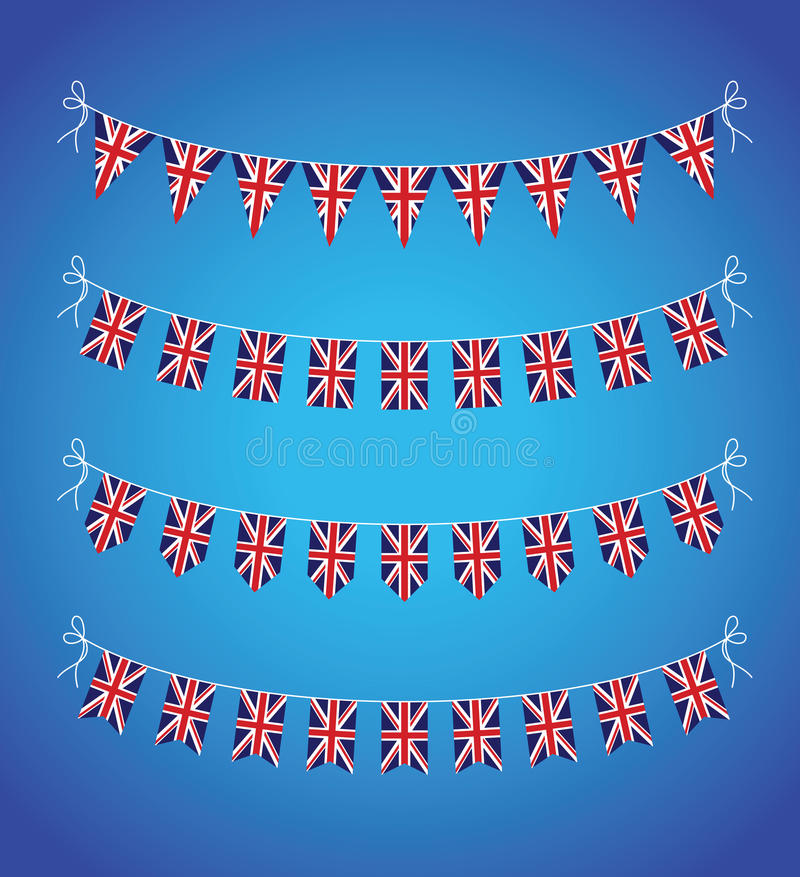 Uppsättning av UK-bunting stock illustrationer