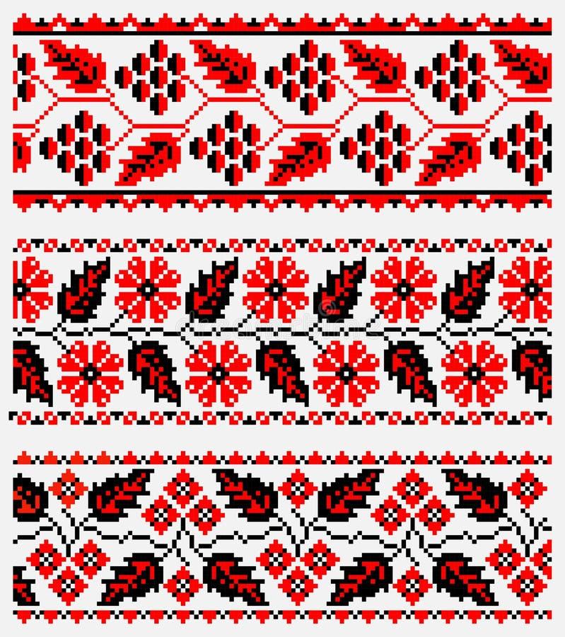 Uppsättning av ukrainsk etnisk broderi vektor illustrationer