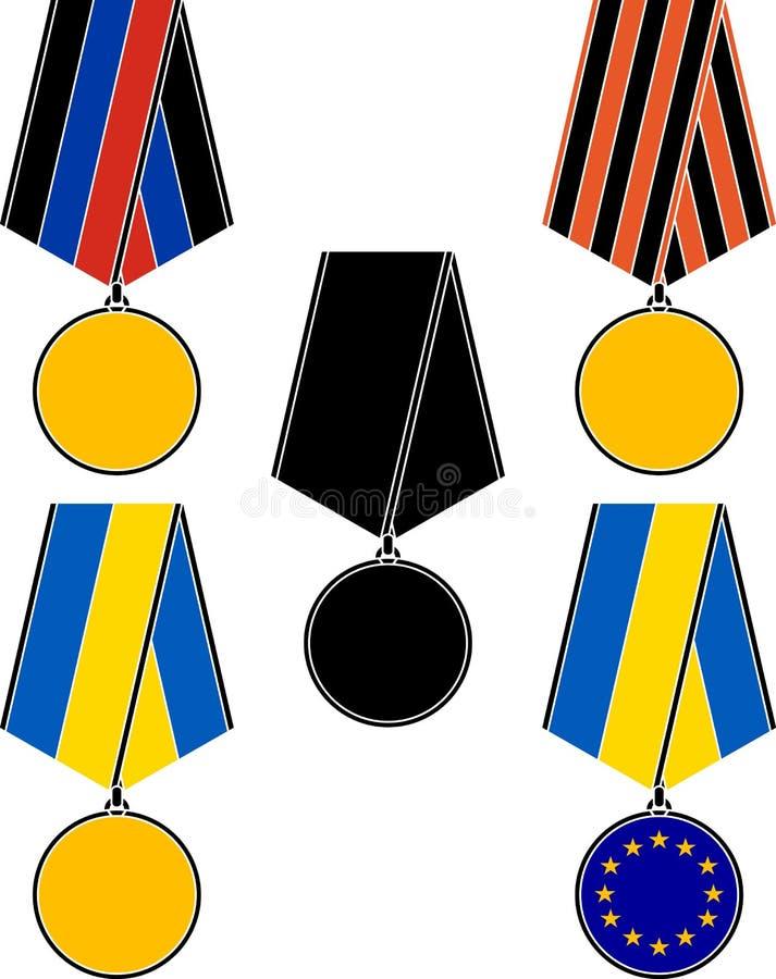 Uppsättning av ukrainska medaljer vektor illustrationer