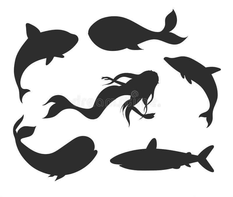 Uppsättning av undervattens- livkonturer för vektor med sjöjungfrun, val, vektor illustrationer