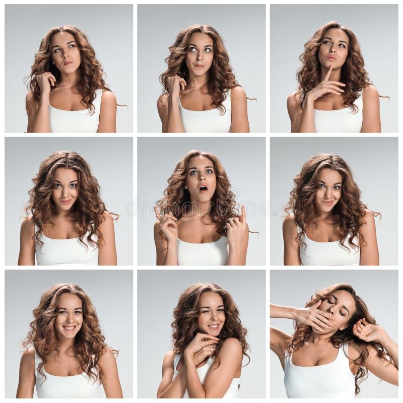 Uppsättning av ung kvinnas stående med olika lyckliga sinnesrörelser arkivbild
