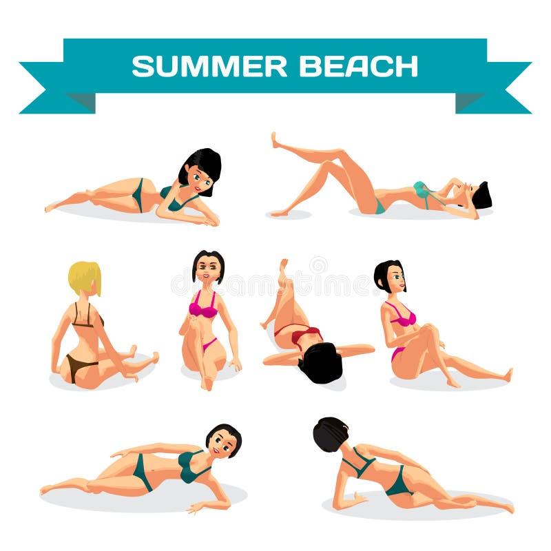 Uppsättning av unga kvinnor i bikini som solbadar att ligga på stranden Vect stock illustrationer