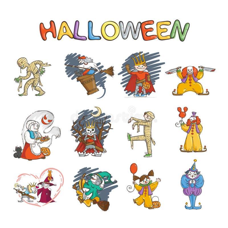 Uppsättning av ungar i dräkter för allhelgonaafton Och häxor och likätande onda andar Lich eller rysskonung Koschey, mamma, clown vektor illustrationer
