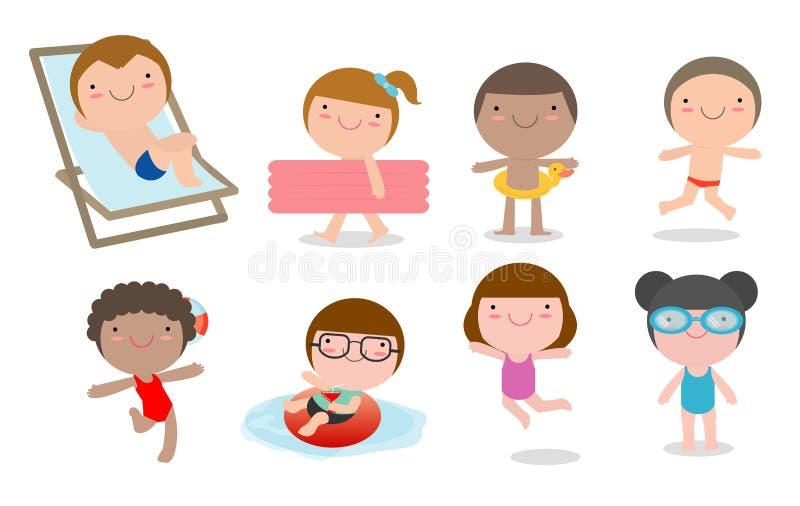 Uppsättning av ungar i en simbassäng, barn för sommarsäsong ungar som spelar på stranden och simmar i pölen, vektor vektor illustrationer