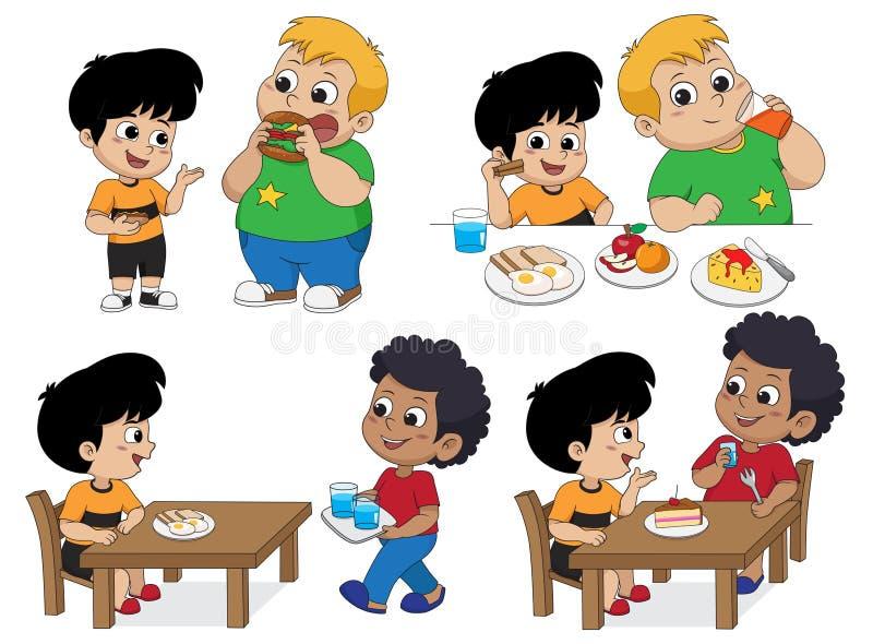 Uppsättning av ungen som äter läcker mat med vänner vektor royaltyfri illustrationer