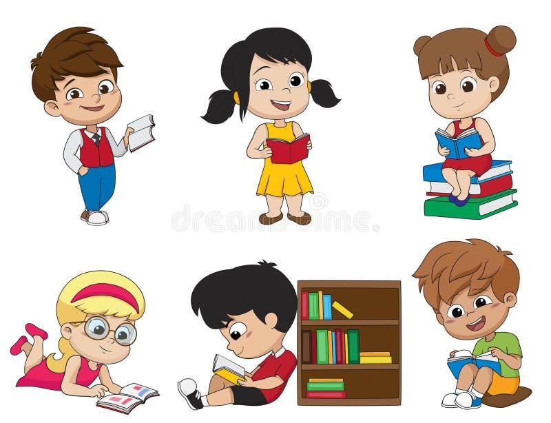 Uppsättning av ungen som läser en bok Vektor och illustration stock illustrationer