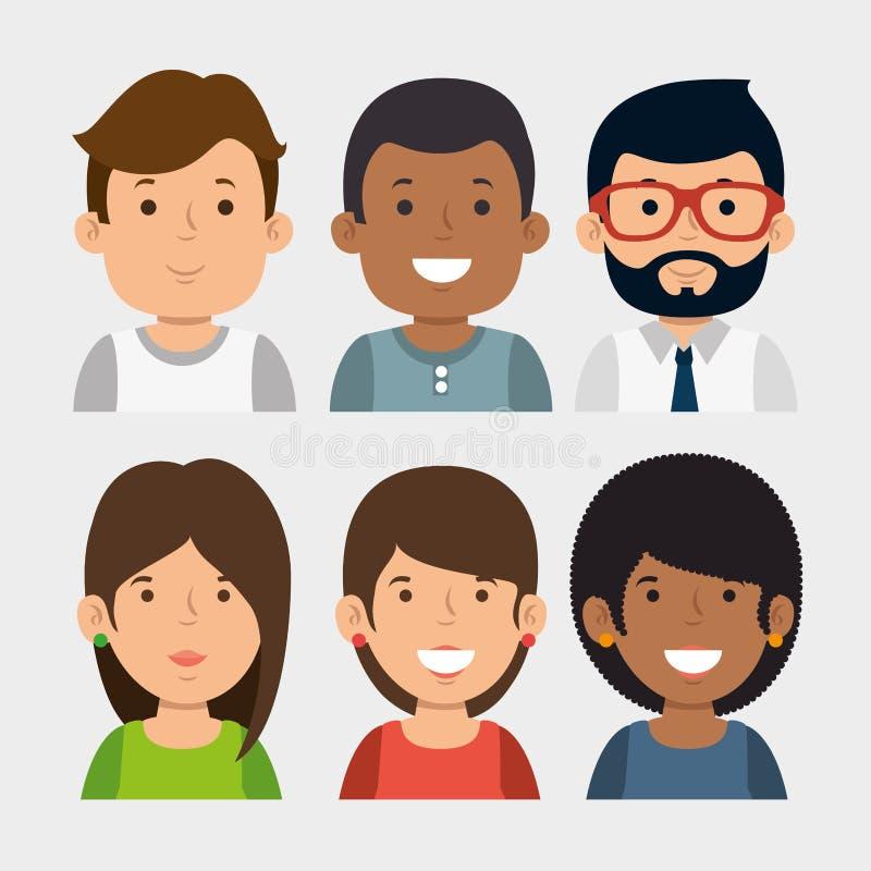 Uppsättning av ungt affärsfolk vektor illustrationer