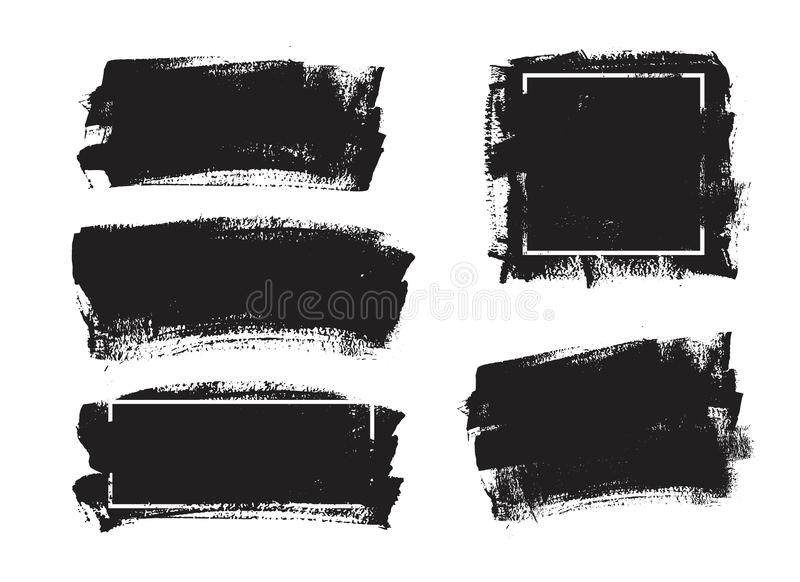 Uppsättning av universell bakgrund för grungesvartmålarfärg med ramen Smutsiga konstnärliga designbeståndsdelar, askar, ramar för vektor illustrationer