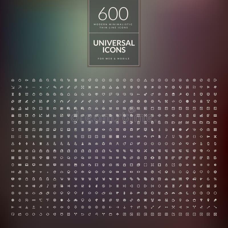 Uppsättning av 600 universell modern tunn linje symboler för rengöringsduk och mobil