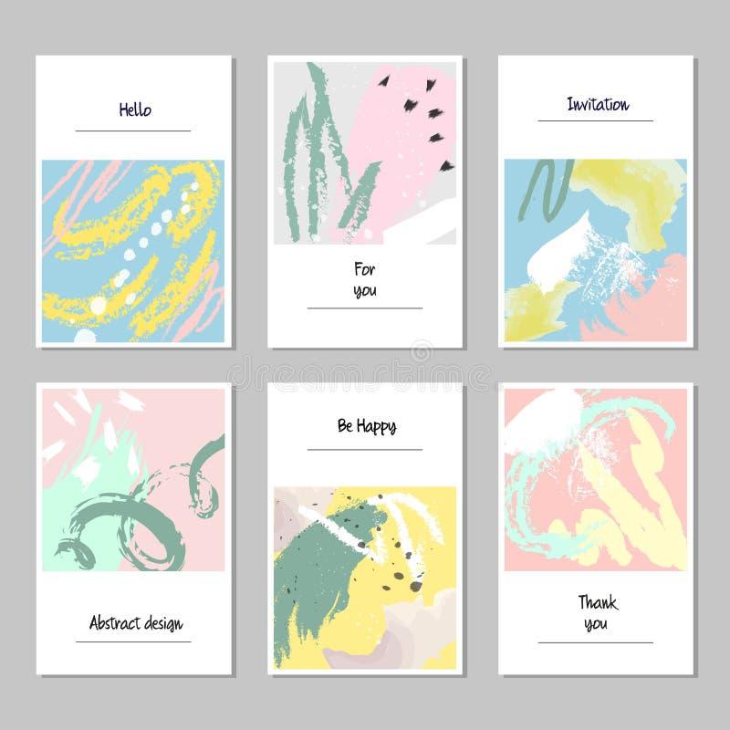 Uppsättning av universella kort och inbjudningar, abstrakt modern stil royaltyfri illustrationer