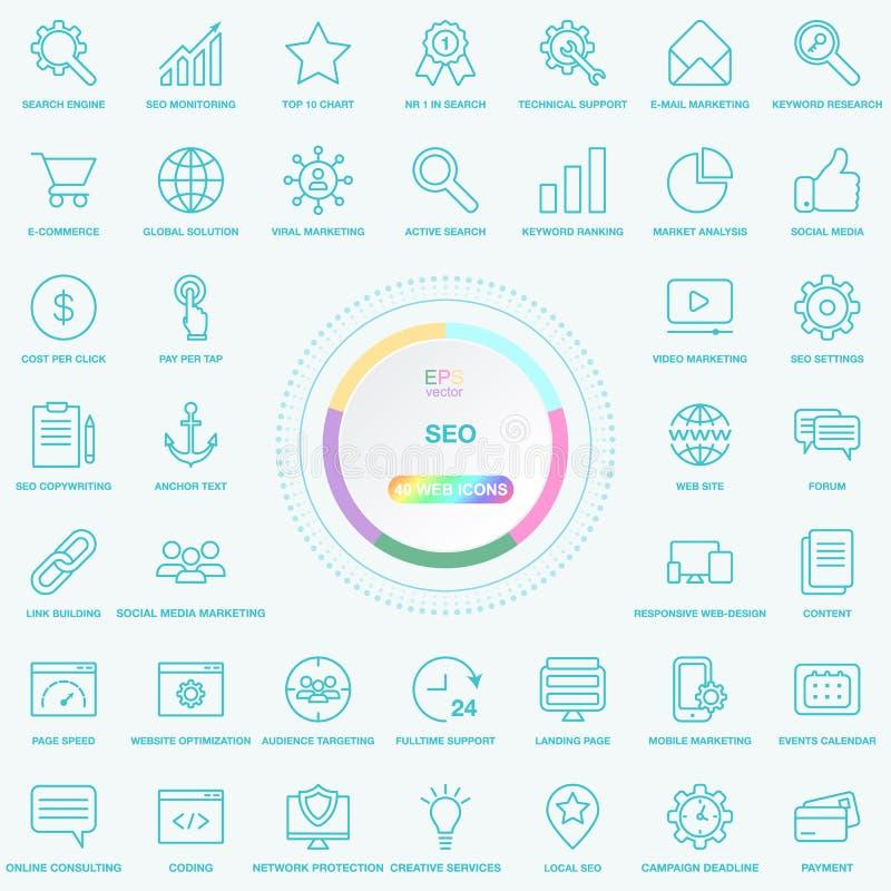 Uppsättning av universella SEO Search Engine Optimisation Line symboler Rengöringsduk-, blogg- och samkvämmassmediaknappar Vektor vektor illustrationer