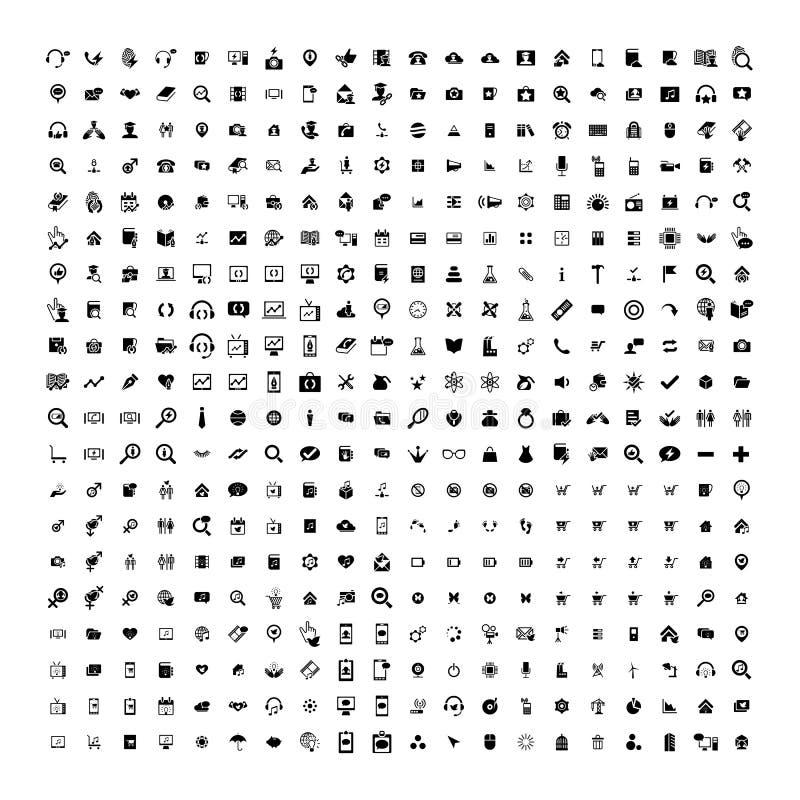Uppsättning av 200 universella symboler Affär internet, rengöringsdukdesign vektor illustrationer