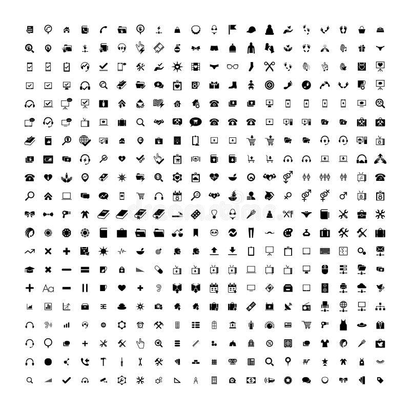 Uppsättning av 200 universella symboler Affär internet, rengöringsdukdesign royaltyfri illustrationer