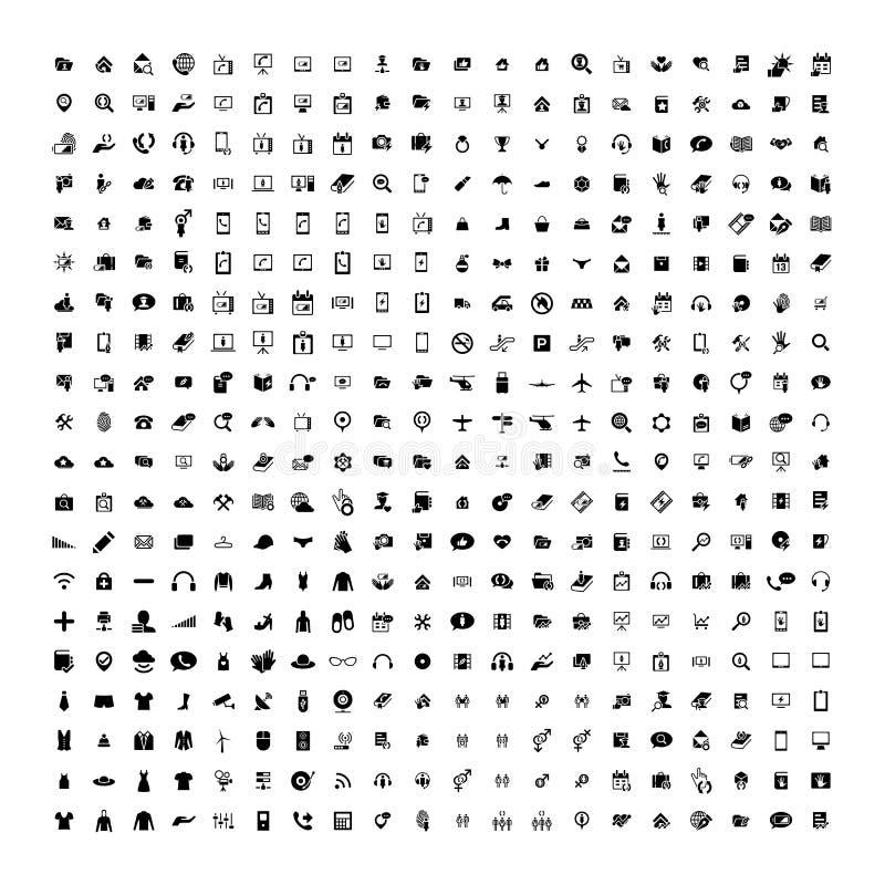 Uppsättning av 200 universella symboler Affär internet, rengöringsdukdesign stock illustrationer