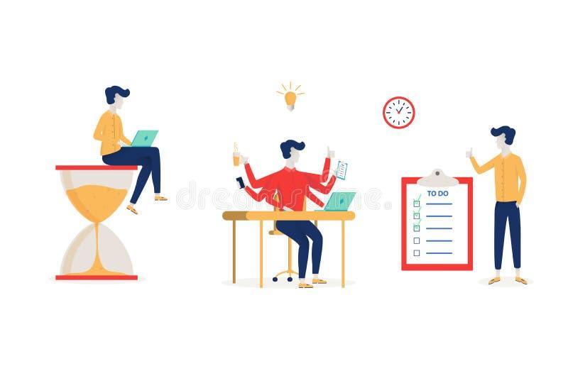 Uppsättning av uppsättningen för beståndsdelar för symboler för ledning för effektiv tid den plana med uppgifter som planerar iso royaltyfri illustrationer