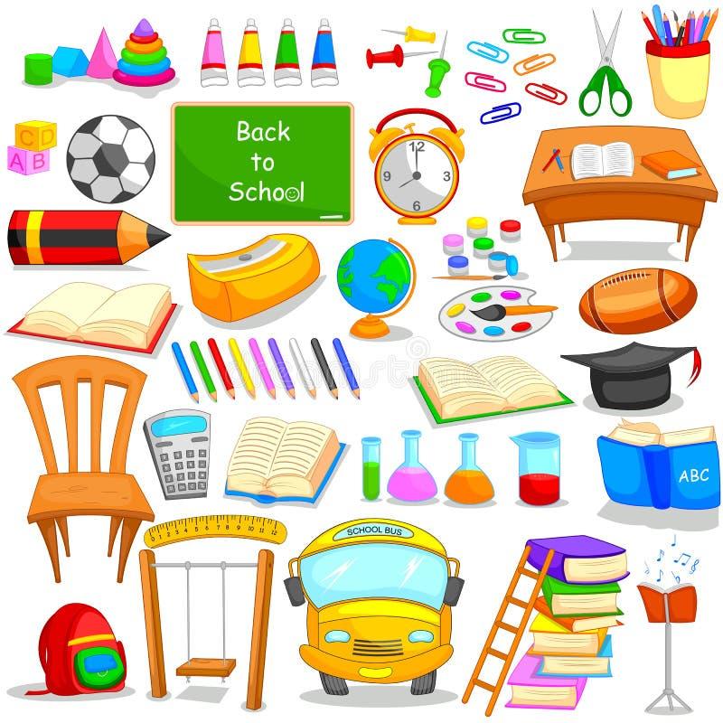 Uppsättning av utbildning och att lära objektsymbolen royaltyfri illustrationer
