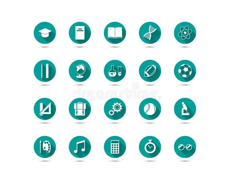 Uppsättning av utbildningslägenhetsymboler med lång skugga på grön bakgrund vektor illustrationer