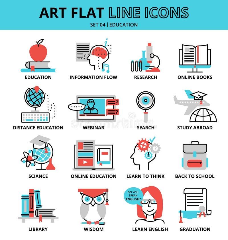 Uppsättning av utbildningssymboler vektor illustrationer