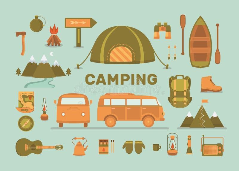 Uppsättning av utrustning för att campa stock illustrationer