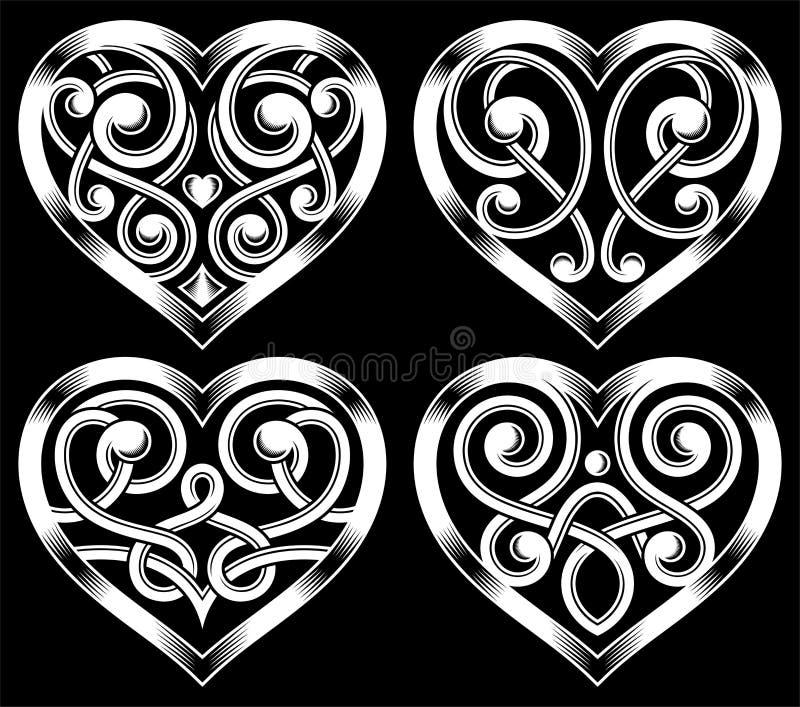 Uppsättning av utsmyckad hjärta Shape royaltyfri illustrationer