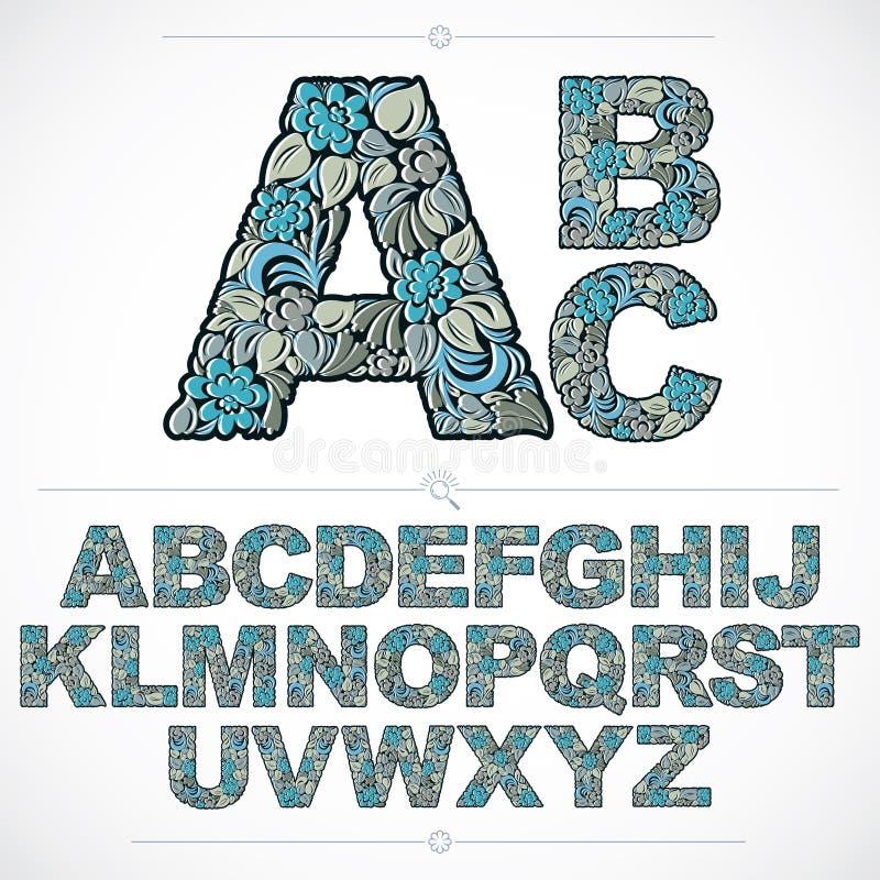 Uppsättning av utsmyckade huvudstäder för vektor, blomma-mönstrat maskinskrivet manuskript _ royaltyfri illustrationer