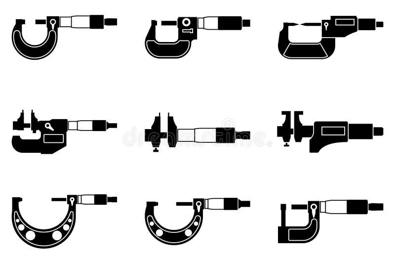 Uppsättning av utvändiga och inre mikrometersymboler Konturvektor arkivfoto