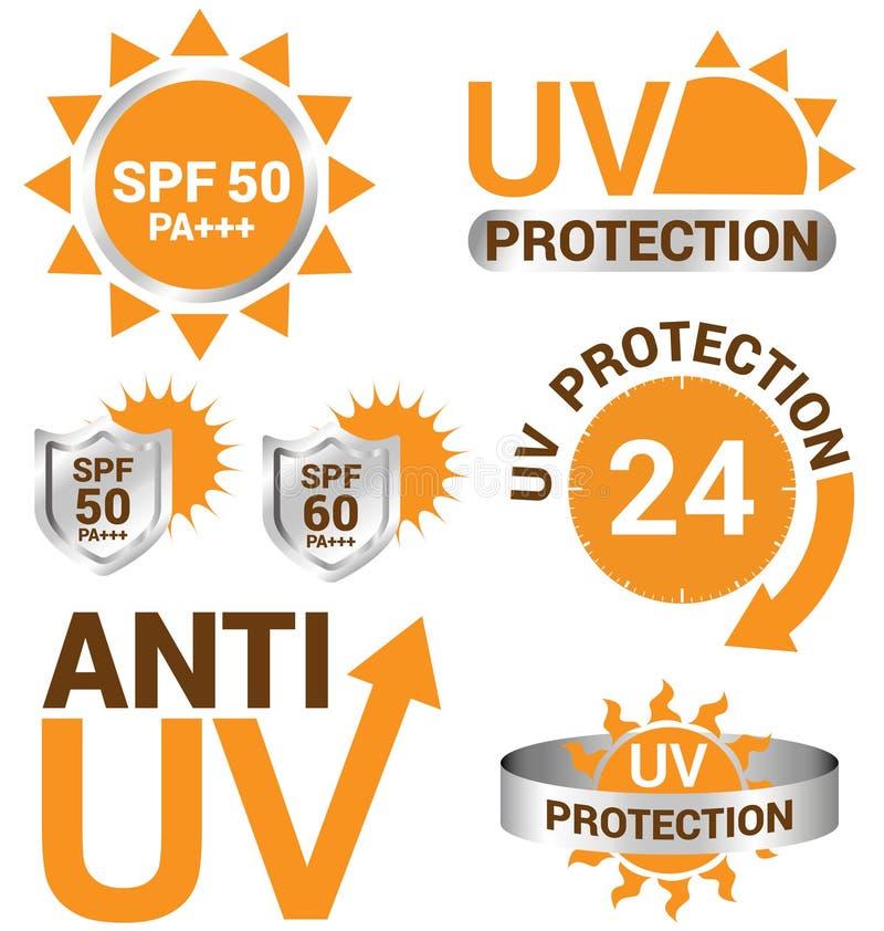 Uppsättning av UV solskydd och anti-uv stock illustrationer