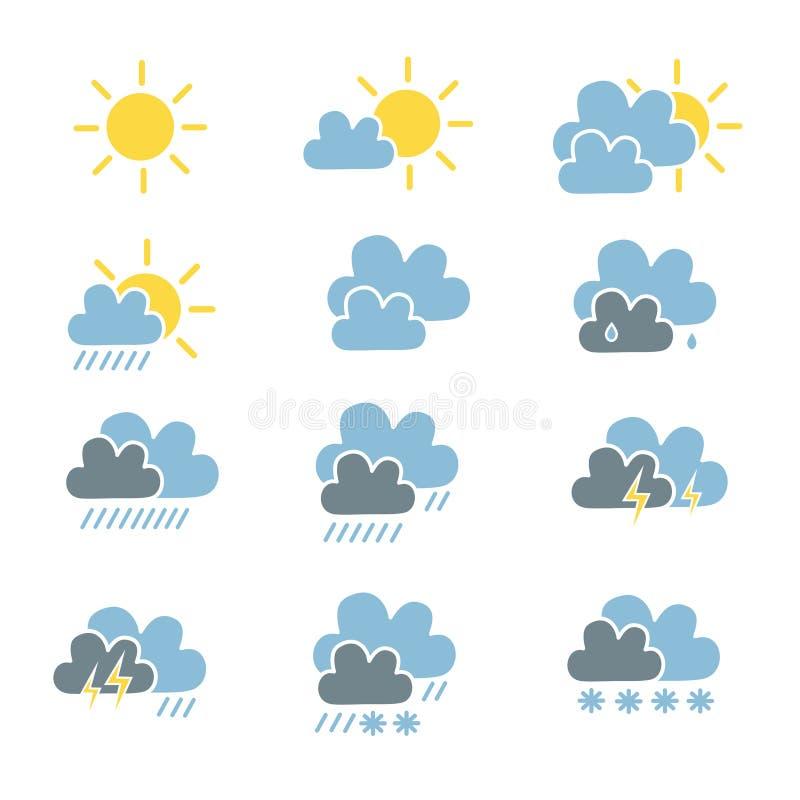 Uppsättning av väderprognossymbolen i solig ljus cl för enkel plan stil stock illustrationer