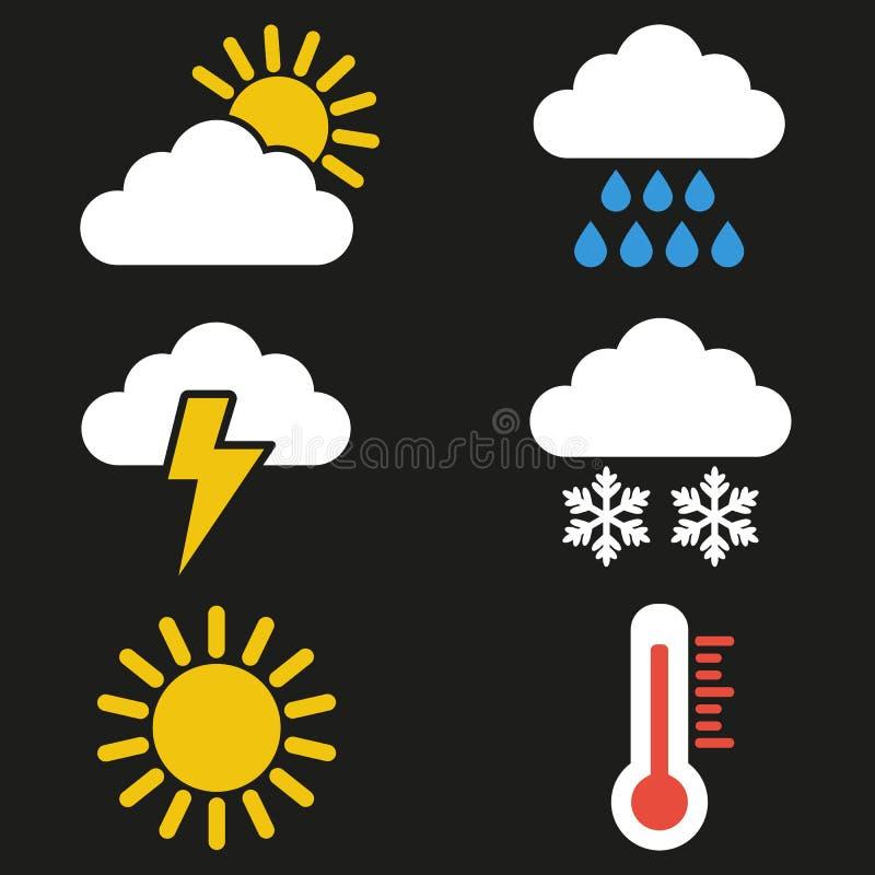 Uppsättning av vädersymboler på svart bakgrund vektor illustrationer