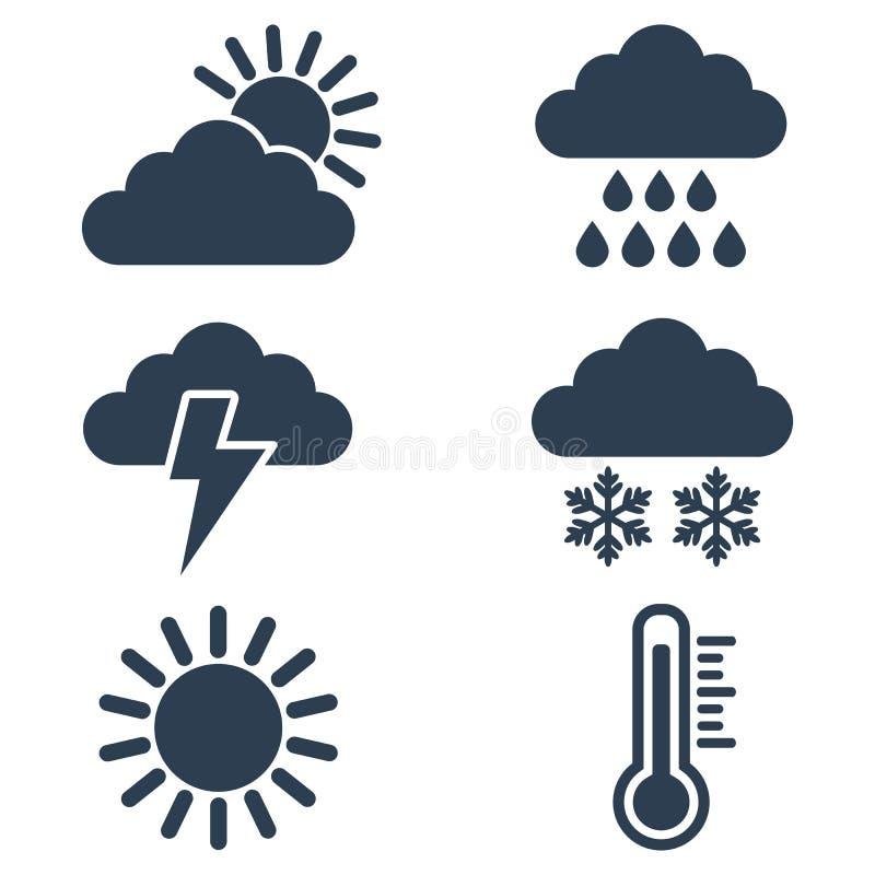 Uppsättning av vädersymboler på vit bakgrund stock illustrationer