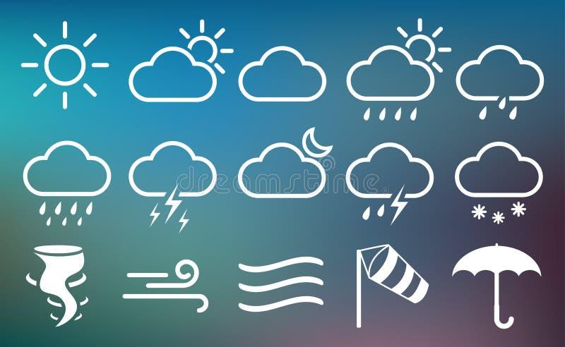 Uppsättning av vädervektorlinjen symboler Innehåller symboler av solen, moln, regnbågen, snöflingor, vind, måne och så vidare royaltyfri illustrationer
