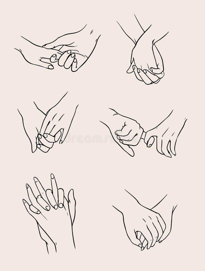 Uppsättning av vänpar som rymmer händer älska folk samlingsillustration stock illustrationer
