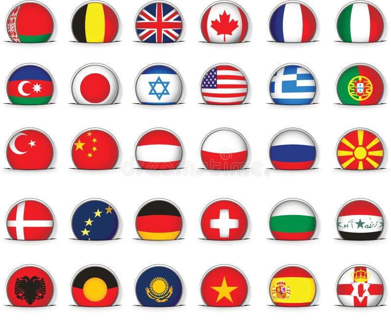 Uppsättning av världsflaggor stock illustrationer