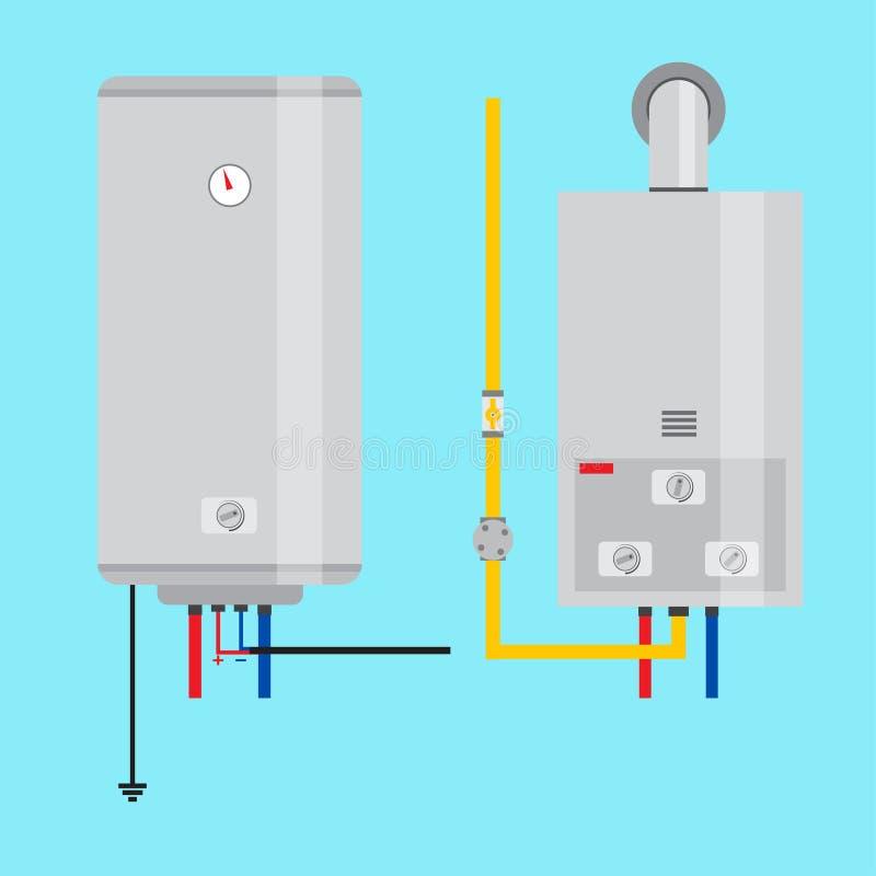 Uppsättning av värmeapparaten för gasvattenvärmeapparat och elkraftvatten Plan symbol för royaltyfri illustrationer