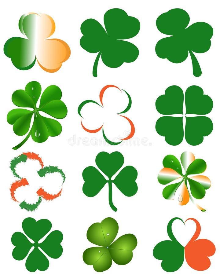 Uppsättning av växt av släktet Trifoliumsidor - symbol för dag för St Patrick ` s vektor illustrationer