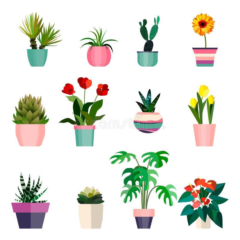Uppsättning av växter för grönt hus i krukor Blad och blommor Blomkruka isolerade objekt royaltyfri illustrationer