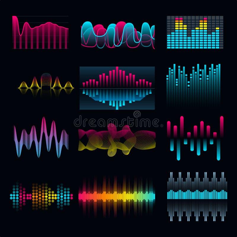 Uppsättning av vågor för musikutjämnareljudsignal stock illustrationer